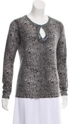 Neiman Marcus Cashmere Animal Print Sweater