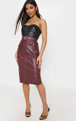 PrettyLittleThing Burgundy Faux Leather Biker Midi Skirt