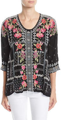 Johnny Was Carnation Embroidered Georgette Blouse, Petite