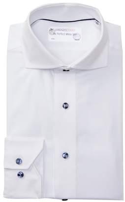 Lorenzo Uomo Textured Twill Trim Fit Dress Shirt