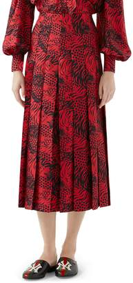 Gucci Tiger Print Pleated Silk Skirt