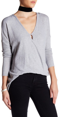 En Creme Asymmetric V-Neck Sweater $52 thestylecure.com