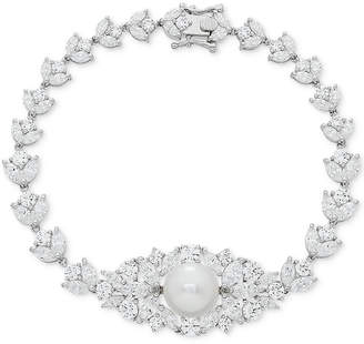 Arabella Cultured Freshwater Pearl (10mm) & Swarovski Zirconia Orbital Link Bracelet in Sterling Silver