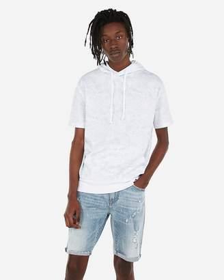 Express Ocean Print Drop Shoulder Short Sleeve Hoodie