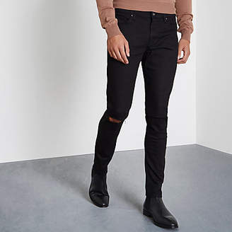 River Island Black skinny fit ripped knee jeans