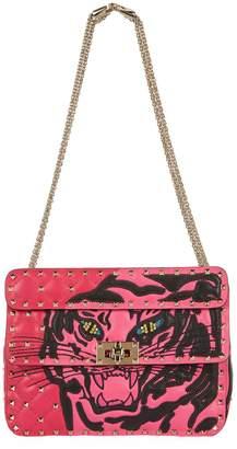 Valentino Embroidered Tiger Rockstud Spike Shoulder Bag