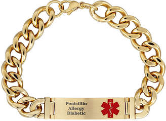 FINE JEWELRY Personalized Gold-Tone IP Stainless Steel Men's Engraved Medical ID Bracelet
