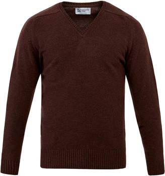 Johnstons of Elgin Brown V-Neck Cashmere Sweater