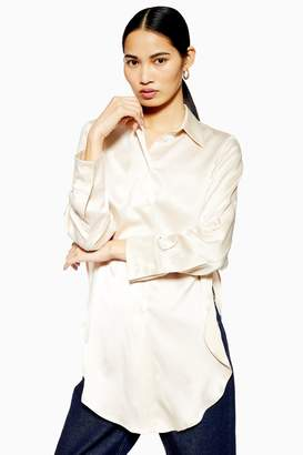 Topshop Womens **Side Split Silk Shirt By Boutique - Cream