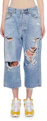 Unravel Ripped Baggy Crop Jeans