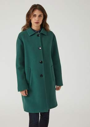 Emporio Armani Single-Breasted Wool Broadcloth Coat