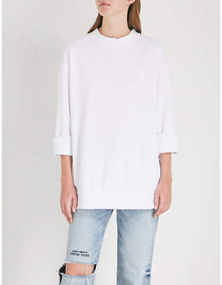 Cheap Monday Two-tone zip-up cotton-blend sweatshirt