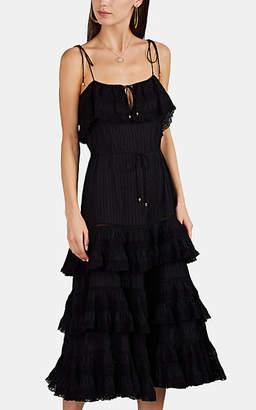 Zimmermann Women's Crochet-Inset Cotton Tiered Dress - Black