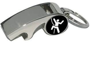Generic Rock Climbing Repelling Belay, Plated Metal Whistle Bottle Opener Keychain Key Ring