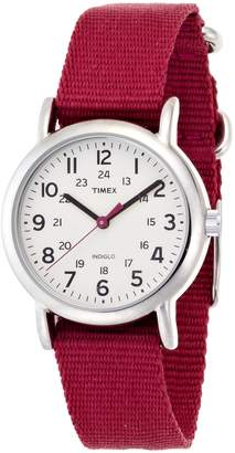 Timex Women's T2N914 Weekender Mid-Size Slip-Thru Nylon Strap Watch