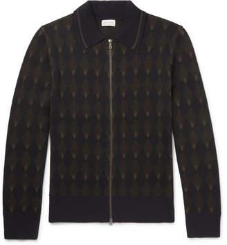 Dries Van Noten Intarsia Merino Wool And Cotton-Blend Zip-Up Cardigan