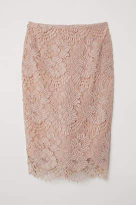 H&M Lace Pencil Skirt - Orange