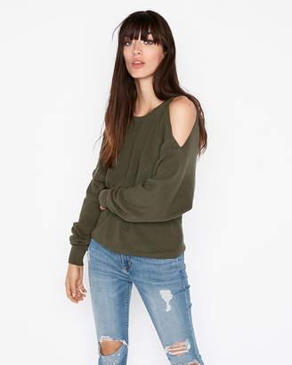 Express Reversible Twist Front Cold Shoulder Sweater