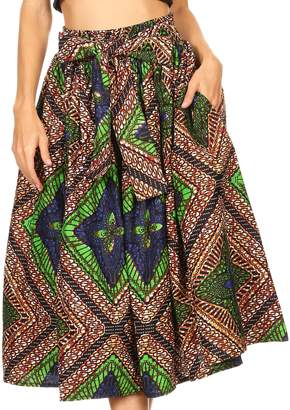 Celine Sakkas 16321 African Dutch Ankara Wax Print Full Circle Skirt - OS