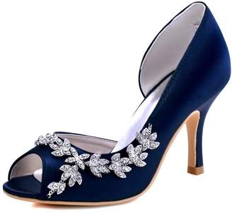 Elegantpark HP1542 Women Peep Toe Rhinestones Pumps High Heel Satin Wedding Bridal Dress Shoes US 7