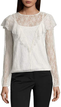 WORTHINGTON Worthington Long Sleeve Lace Ruffle Blouse