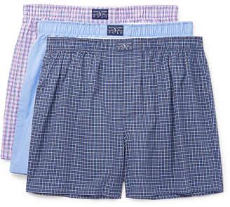 Polo Ralph Lauren Three-pack Cotton-poplin Boxer Shorts - Blue