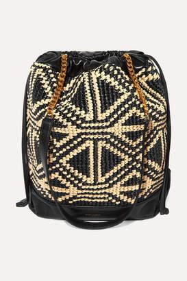 Saint Laurent Teddy Raffia And Leather Bucket Bag - Black