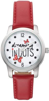 """Disney Disney's Minnie Mouse """"Dreaming in Dots"""" Women's Leather Watch"""