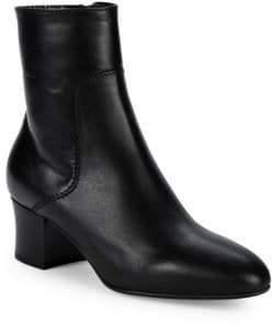 Aquatalia Findlay Leather Block-Heel Booties
