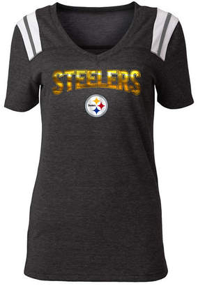5th & Ocean Women Pittsburgh Steelers Shoulder Stripe Foil T-Shirt