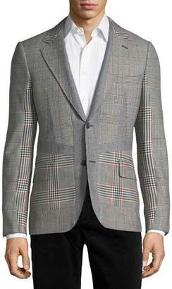 Alexander McQueen Wool Check-Panel Two-Button Blazer