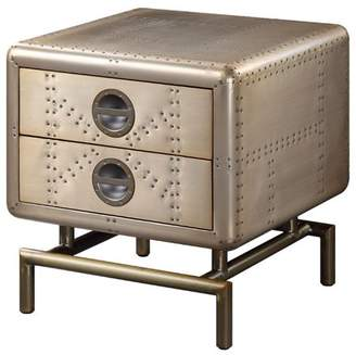ACME Furniture Acme Jennavieve End Table with 2 Storage Drawers in Gold Aluminum