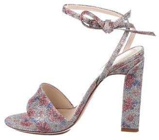 DELPOZO Glitter Floral Sandals