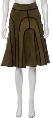 Oscar de la Renta Shearling Knee-Length Skirt
