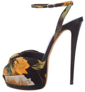 Giuseppe Zanotti Printed Satin Peep-Toe Sandals