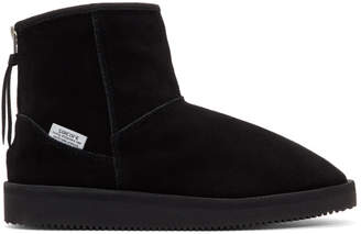 Suicoke Black Suede Shearling Boots