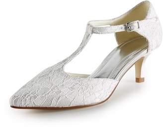 TDA TH12105 Womens Low Heel Lace Fashion Evening Parting Bridal Wedding Dress T-strap Pumps
