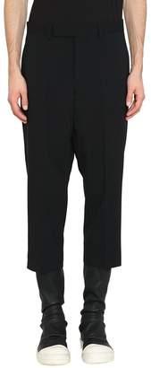 Rick Owens Black Wool Cropped Astaires Pants