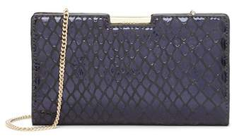Milly Metallic Reptile Printed Leather Frame Clutch