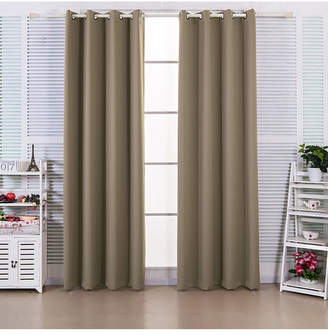 "Elegant Home Fashions 96"" Ephesus Premium Solid Insulated Thermal Blackout Grommet Window Panels, Sepia Brown"