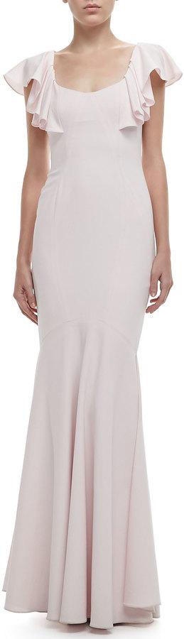 Zac Posen Flutter-Sleeve Open-Back Gown