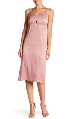 J.o.a. V-Neck Satin Midi Dress