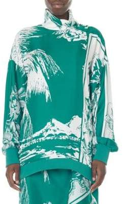 Tibi Leilani Tropical-Print Silk Sweatshirt