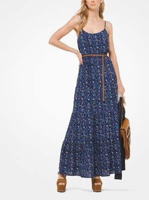 MICHAEL Michael Kors Paisley Tiered Crepe Maxi Dress