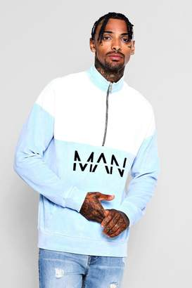 boohoo MAN Print Towelling Colour Block Track Top