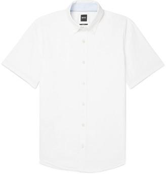 HUGO BOSS Roddy Slim-Fit Button-Down Collar Cotton And Linen-Blend Shirt