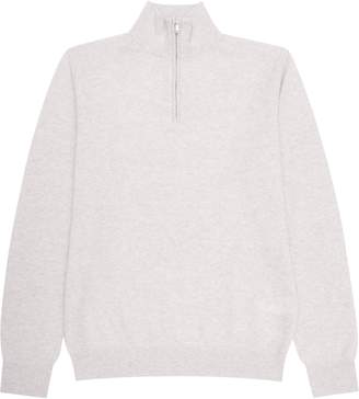 Reiss Tyne - Zip-neck Cashmere Jumper in Light Grey