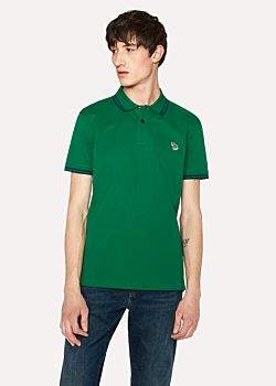 Paul Smith Men's Slim-Fit Green Zebra Logo Polo Shirt With Navy Tipping