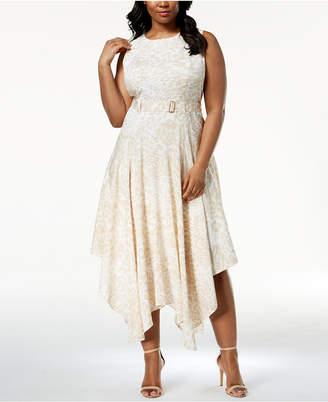 Calvin Klein Plus Size Belted Handkerchief-Hem Dress