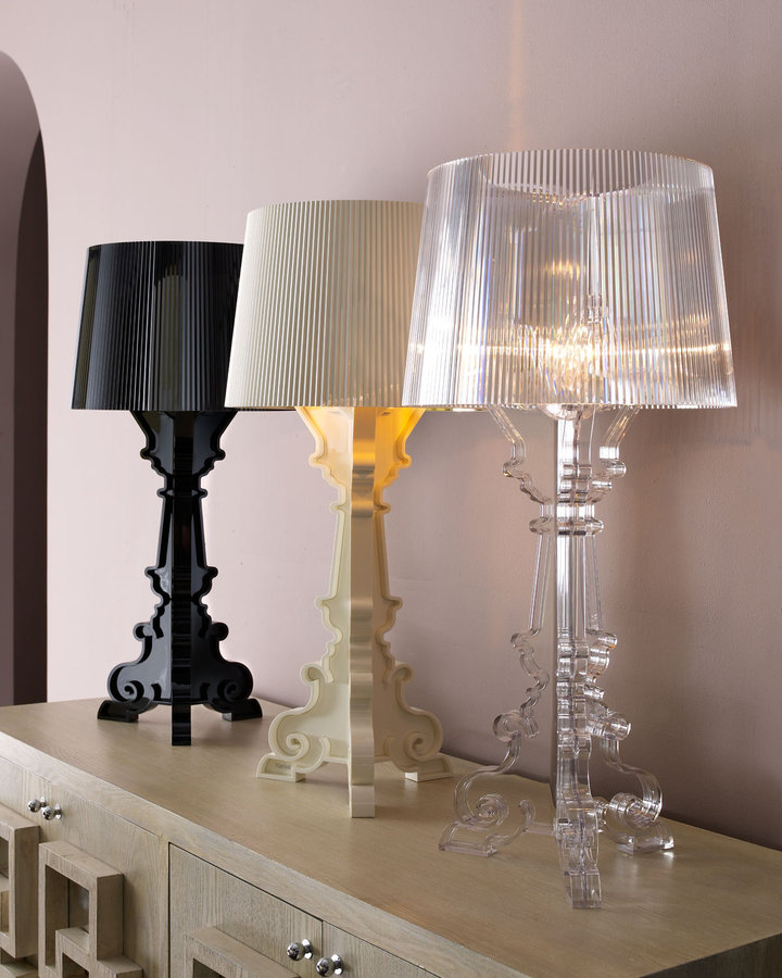 Horchow White Bourgie Lamp with 24-kt. Gold-Lined Shade